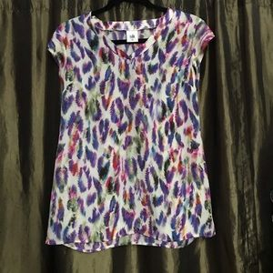 Cabi feather print graphic top XS
